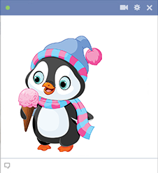 FB Penguin eating ice cream