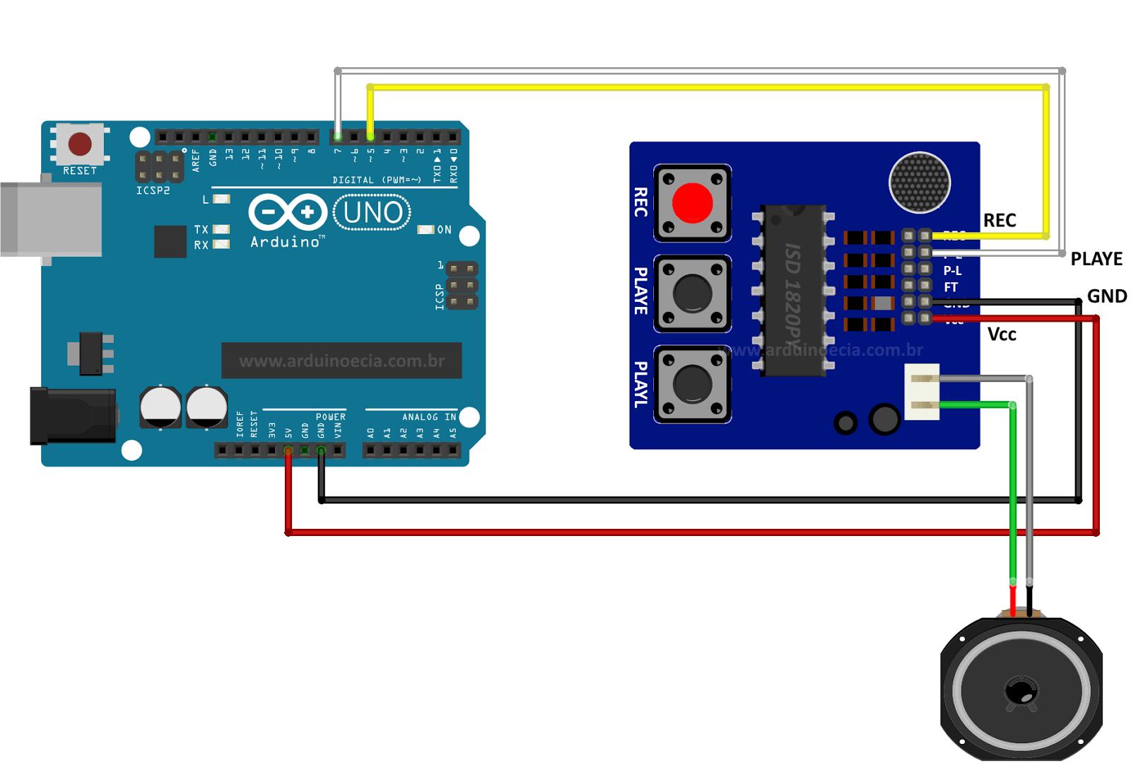 Circuito Arduino - Gravador de voz ISD1820