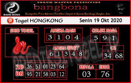 Prediksi Bangbona HK Senin 19 Oktober 2020
