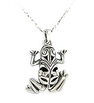 frog, nature, animal, detailed, sterling, silver, pendant