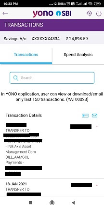 How to get bank statement from YONO SBI app?