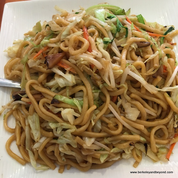 vegetables chow mein noodle at Enjoy Vegetarian Restaurant in San Francisco, California