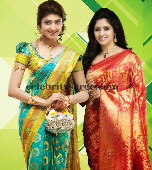 dd25748692345d Praneetha and Nadhiya Silk Sarees - Saree Blouse Patterns