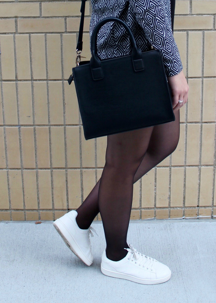 LBD, white trainers, black purse and geometric printed vest #ootd
