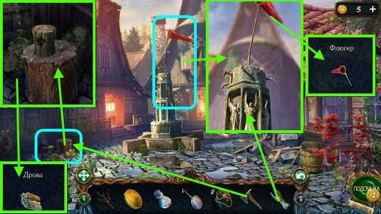 топором колем дрова, статуэтку ставим на место и флюгер берем в игре затерянные земли 3