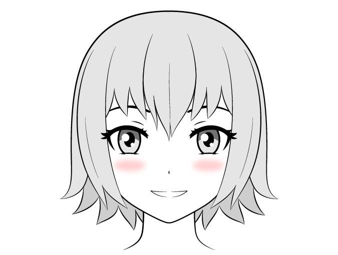 Gadis anime dengan blush on gradien kecil