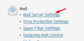 Mail Server Settings.
