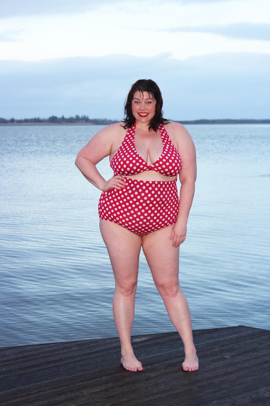 Plus Size Blogger Amber in a Red Polka Dot Bikini, fullbeauty.com, Swim Sexy, Swimsuits For All, Fatkini