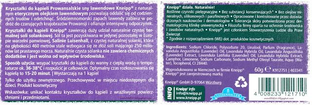 Kneipp Kryształki do kąpieli Prowansalskie sny lawendowe
