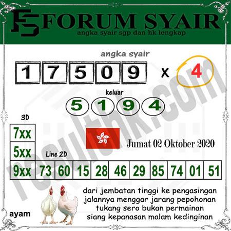 Forum Syair HK Malam Ini Jumat 02 Oktober 2020