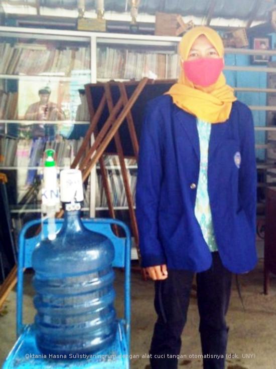 Keren! Mahasiswi UNY Asal Pemalang Ciptakan Alat Cuci Tangan Otomatis