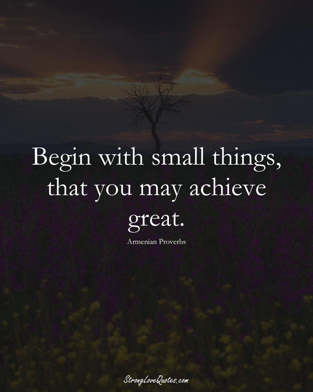 Begin with small things, that you may achieve great. (Armenian Sayings);  #AsianSayings