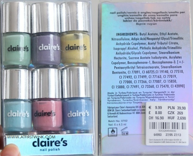 claire's 6 pack pastel mini nail polish set