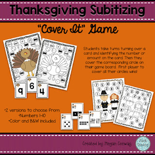 Thanksgiving Subitizing, www.JustTeachy.blogspot.com