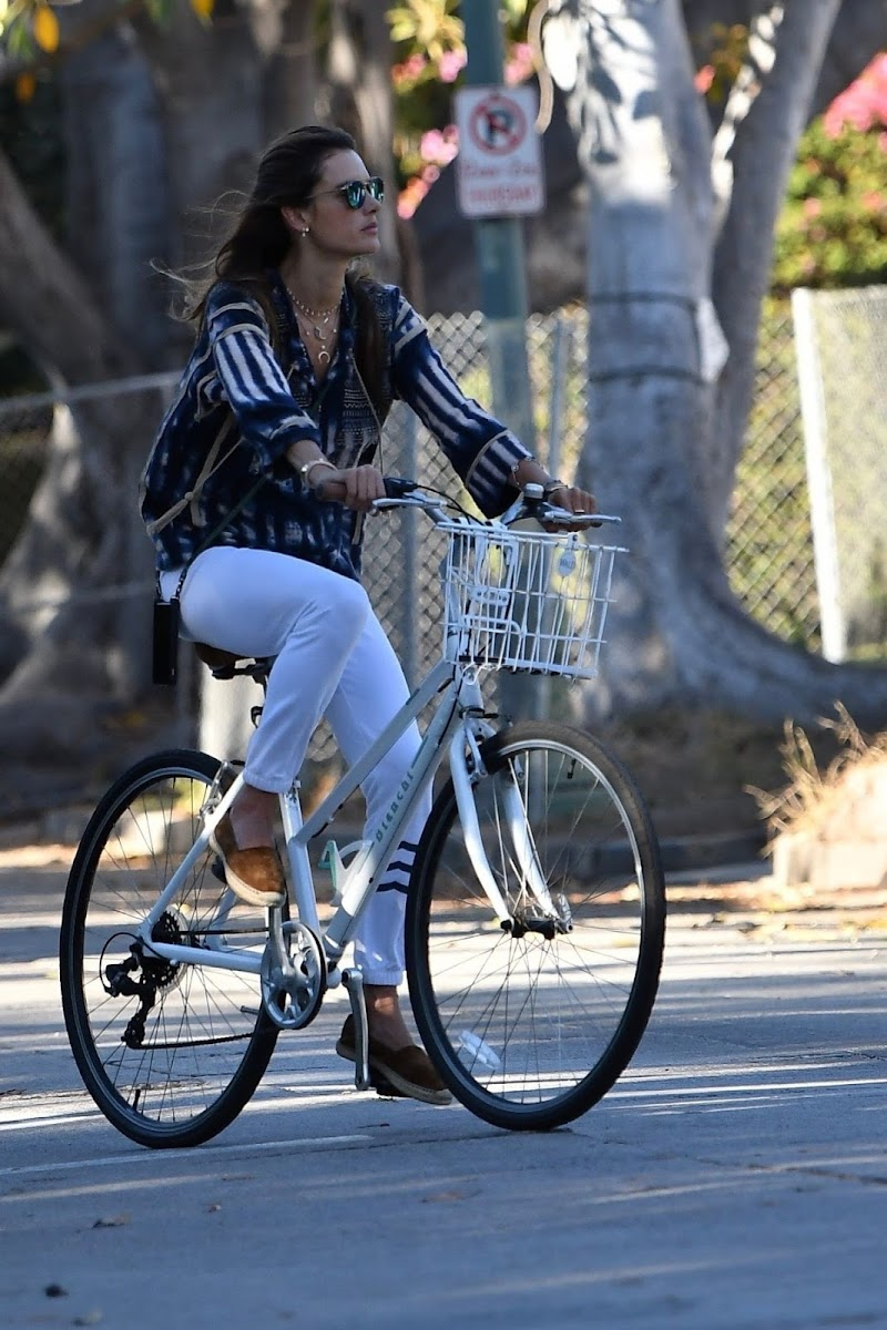 Alessandra Ambrosio Clicked Outside - Bike Ride in Brentwood 16 Jul -2020