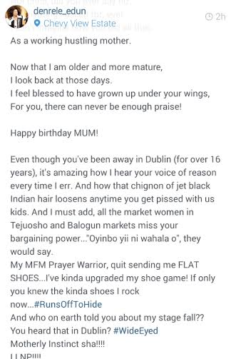 crazy denrele edun reveals mums origin as he writes her a love letter on her birthday