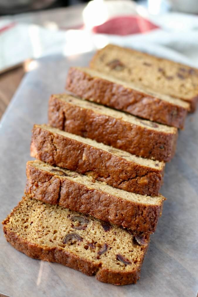 Date and Rooibos Loaf Cake slices
