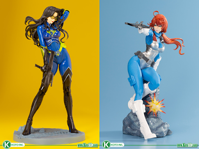 G.I. Joe Scarlett Aerial Assault Sky Blue Edition & The Baroness 25th Anniversary Blue Edition Bishoujo Statues by Kotobukiya