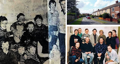 Members of Brigg's Dunderdale family 'back in the day' with a current view of the house where they lived and the one next door, and a colour picture of the 11 brothers together, taken some years ago.