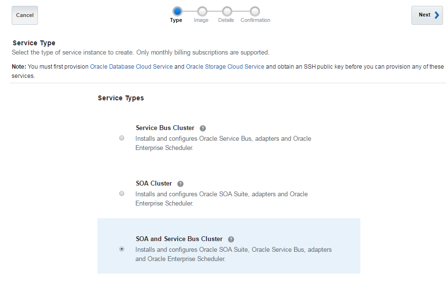 Oracle SOA Cloud Service Type