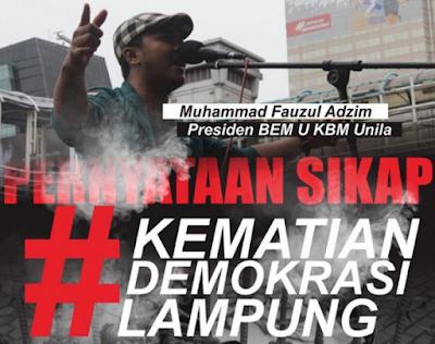 Presiden BEM Unila Nilai Money Politic Sebagai Kematian Demokrasi di Lampung