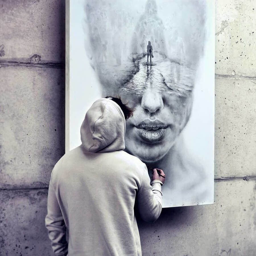 07-Nothing-but-love-Igor-Dobrowolski-Large-Oil-Paintings-Double-Exposures-www-designstack-co
