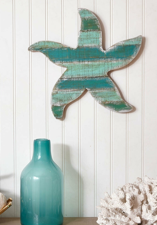 Coastal Starfish Wood Cutout Plank Wall Decor