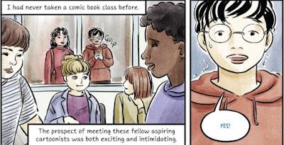 Kaksi paneelia, joissa Robin päättää liittyä sarjakuvakerhoon.