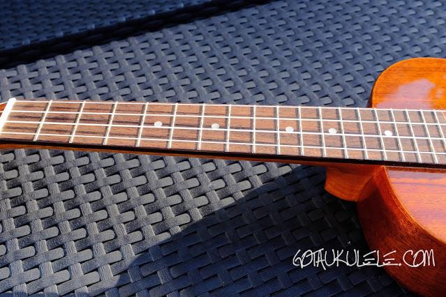 Mainland Mahogany Tenor Slot Head Ukulele fingerboard
