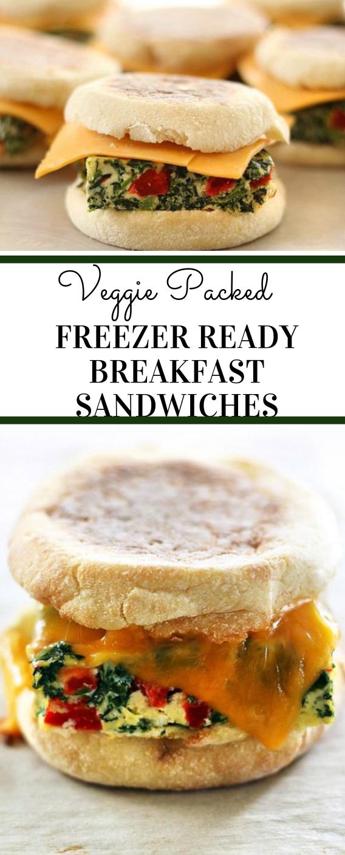 VEGGIE PACKED FREEZER READY BREAKFAST SANDWICHES #sandwich #vegetarian #salad #easy #breakfast