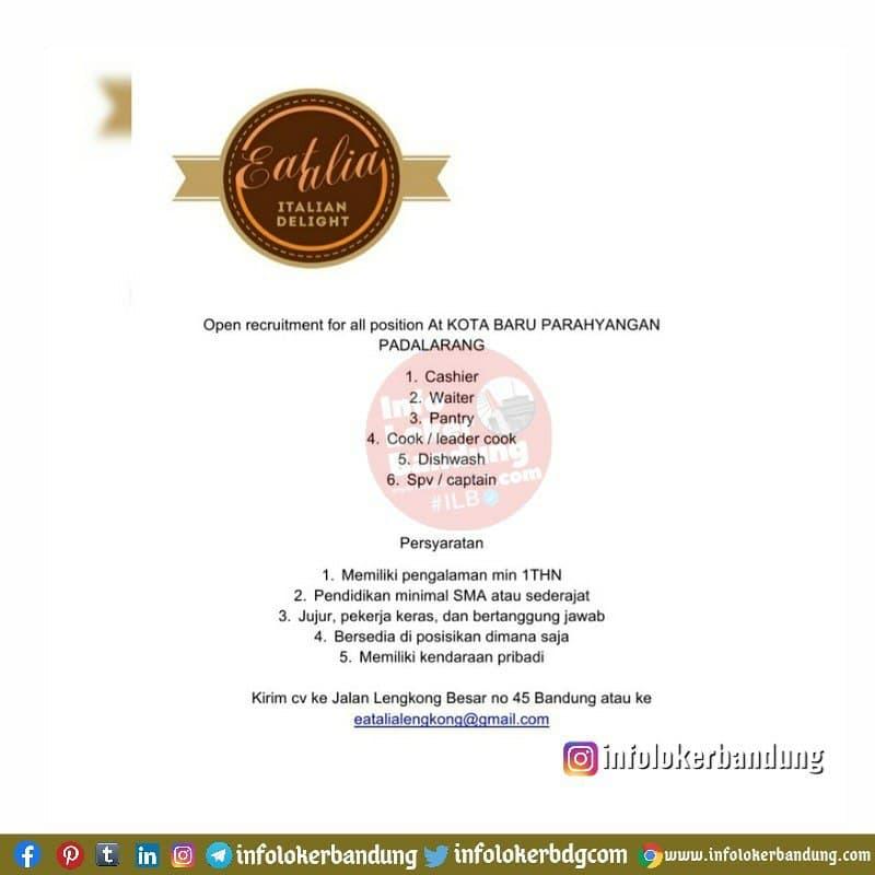 Lowongan Kerja Eatalia (Italian Delight) Resto Bandung April 2021