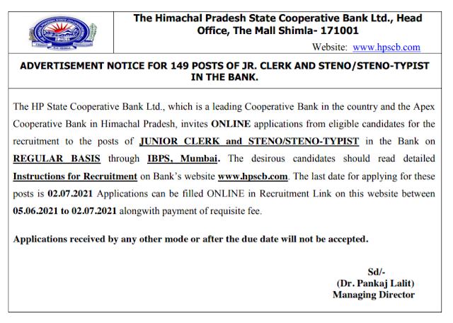 HPSCB Recruitment - 149 Junior Clerk, Steno-Typist - Last Date: 2nd July 2021