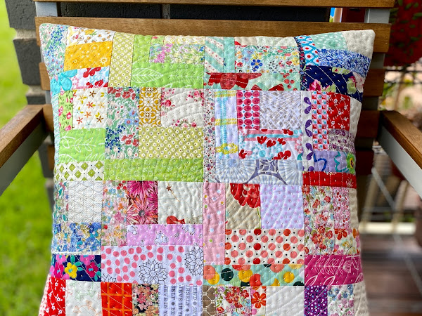 Scrappy Log Cabin Quilted Pillow {Finish}
