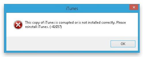 fix itunes error 42037