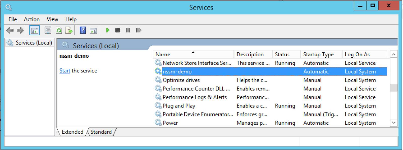 Pada service nssm-demo untuk dapat melakukan start/stop/restart dapat  dilakukan dengan klik kanan->pilih aksi start/stop/restart.