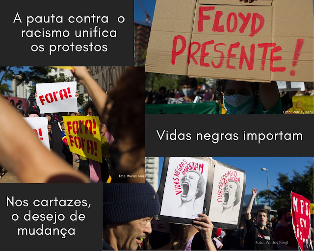 Colagem de fotos manifestantes com cartazes contra governo e contra racismo