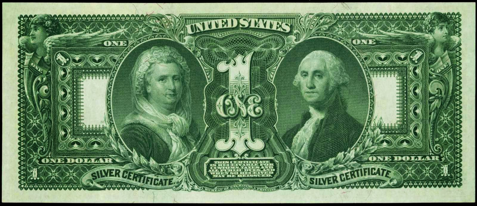 United States Paper Money 1 dollar Silver Certificate Educational George and Martha Washington 1896