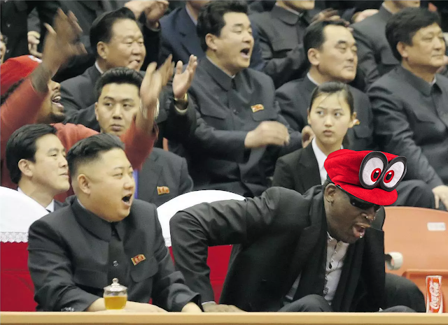 Dennis Rodman Kim Jong-un Cappy Super Mario Odyssey red hat cap captured possessed Mario & Sonic at the PyeongChang 2018 Olympic Winter Games