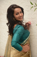 Tejaswi Madivada looks super cute in Saree at V care fund raising event COLORS ~  Exclusive 050.JPG