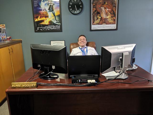 Guy's Nerdy Office Inspiration (Valspar Academy Gray) - www.kristenwoolsey.com