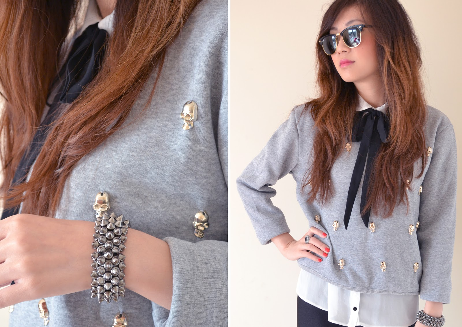 studded grey sweater