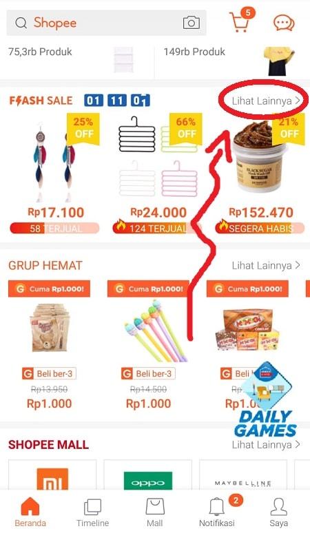 Klik Menu Lihat Lainnya - Flash Sale Shopee