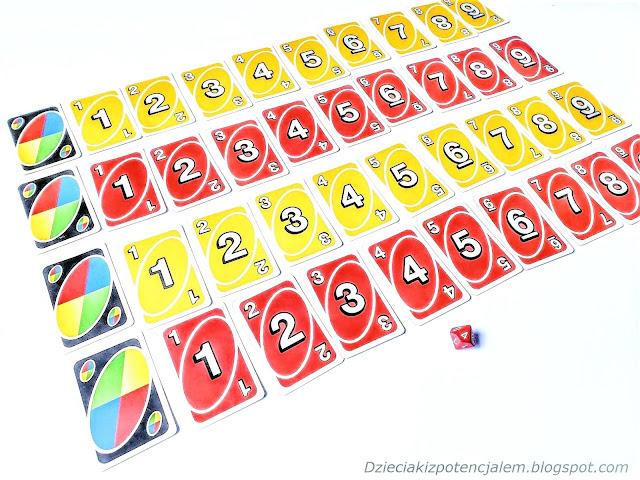 na zdjęciu talia kart uno rozłożonych w czterech rzędach, na początku każdego rzędu leży karta joker a za nimi karty o wartościach od jeden do dziewięć, po dwa rzędy żółte i czerwone