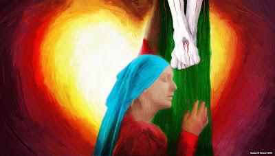 A devout soul in deep contemplation of Christ' Passion.