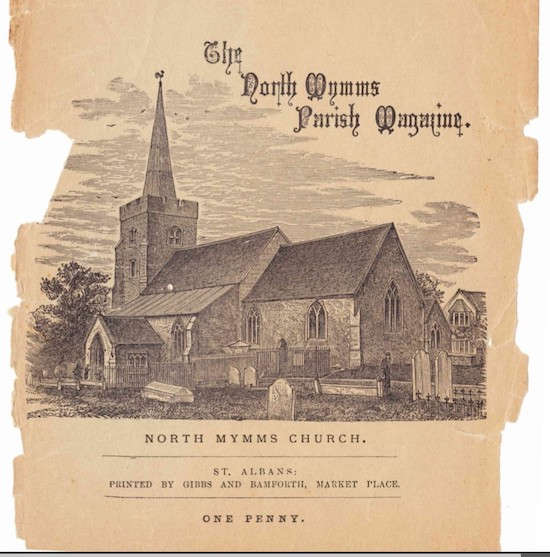 Front cover of a 19th century North Mymms Parish magazine Image from the Peter Miller collection