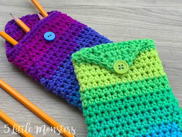 5 Little Monsters Crocheted Mermaid Tail Pencil Pouch