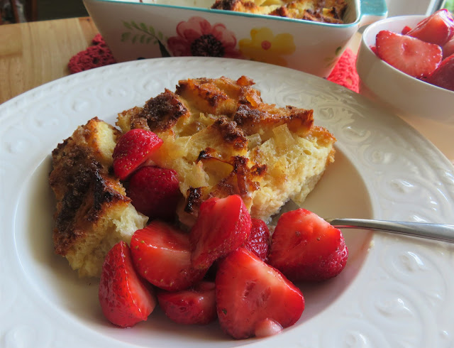Ginger & Honey Bread Pudding with Strawberries