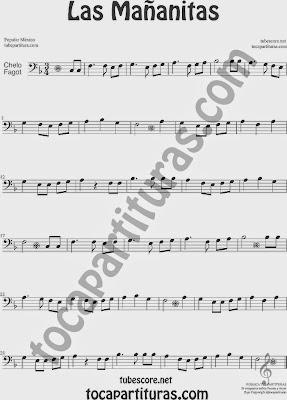 Las Mañanitas Partitura de Violonchelo y Fagot Sheet Music for Cello and Bassoon Music Scores