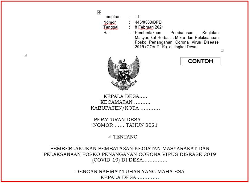 Download Perdes Pemberlakukan Pembatasan Kegiatan Masyarakat Dan Pelaksanaan Posko Penanga Download Perdes Pemberlakukan Pembatasan Kegiatan Masyarakat Dan Pelaksanaan Posko Penanganan Corona Virus Disease 2019 (Covid-19) Di Desa
