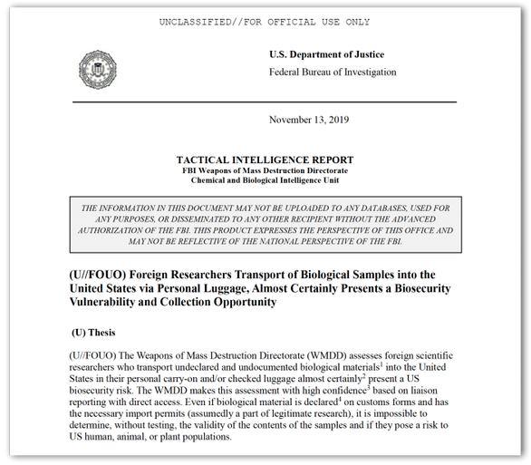 Phát hiện chuyên gia Trung Quốc mang lọ nghi chứa virus vào Mỹ năm 2018